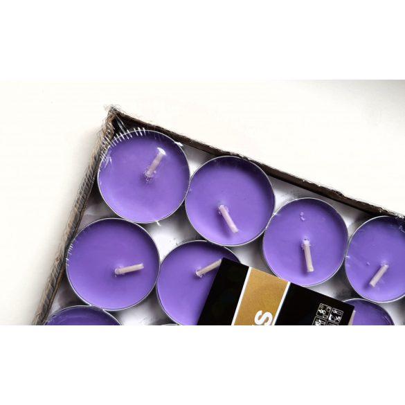 50 db lila kerek teamécses