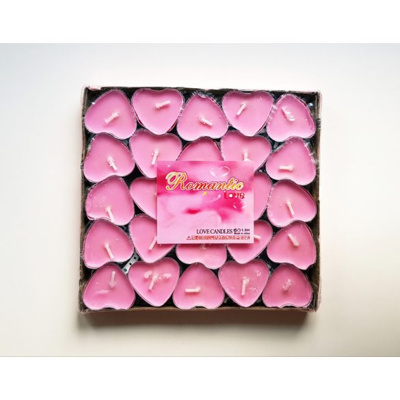 50 db rózsaszín szív alakú teamécses