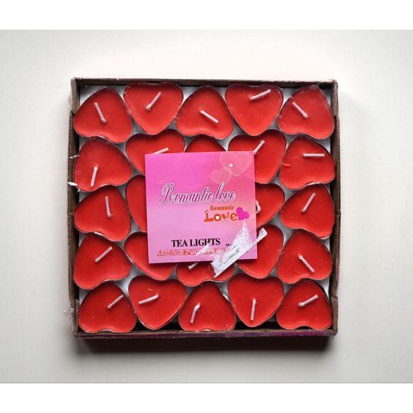 50 db piros szív alakú teamécses