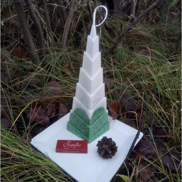 Sagoljus fenyőfa gyertya (zöld-fehér)