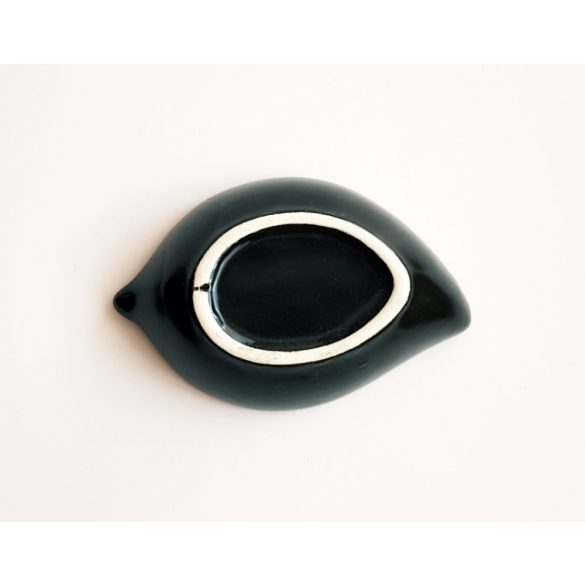 Levél alakú kerámia gyertyatartó (sötétkék)